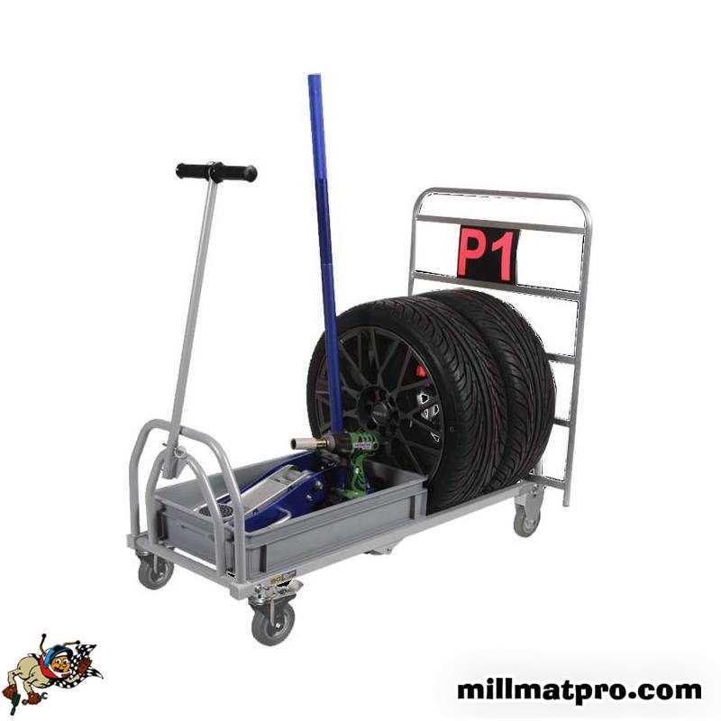 chariot transport roues pliable longueur 765mm bg racing bgr106p. Black Bedroom Furniture Sets. Home Design Ideas